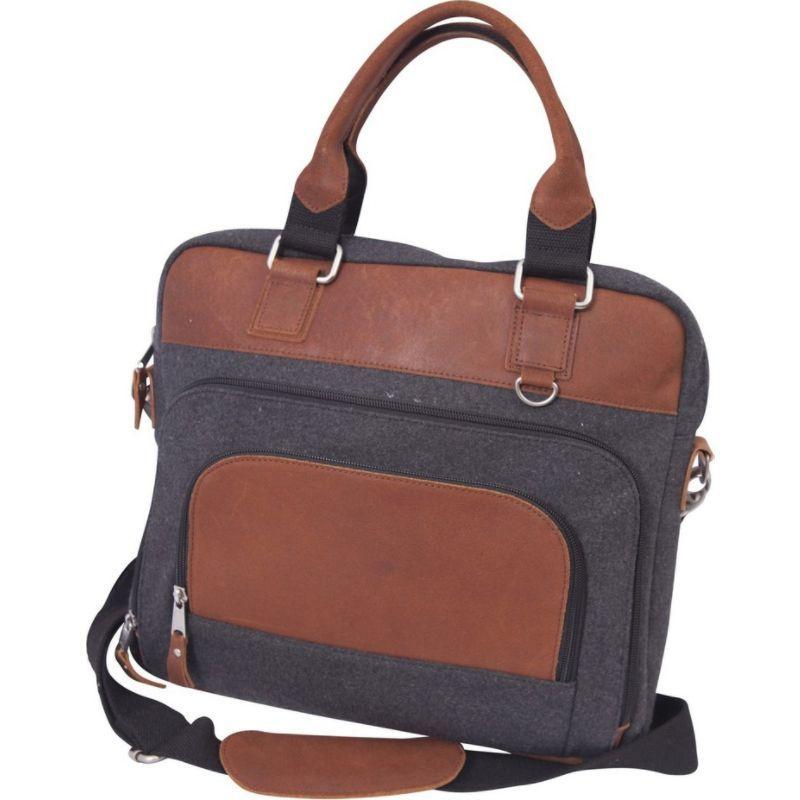 キャニオンアウトバック メンズ スーツケース バッグ Jonah 14 Wool and Leather Laptop Briefcase Grey and Tan