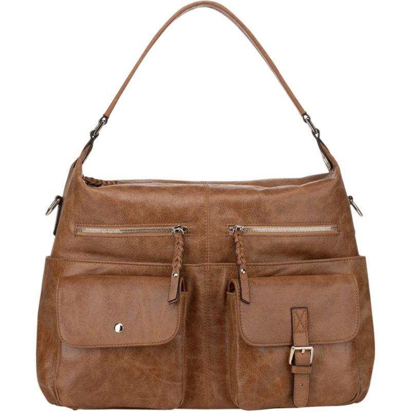 ビンセンゾレザー メンズ ショルダーバッグ バッグ Carlotta Distressed Leather Shoulder Bag Brown