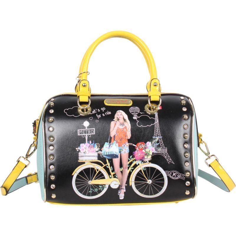 ニコルリー メンズ ショルダーバッグ バッグ Spring Ride Print Boston Shoulder Bag Black