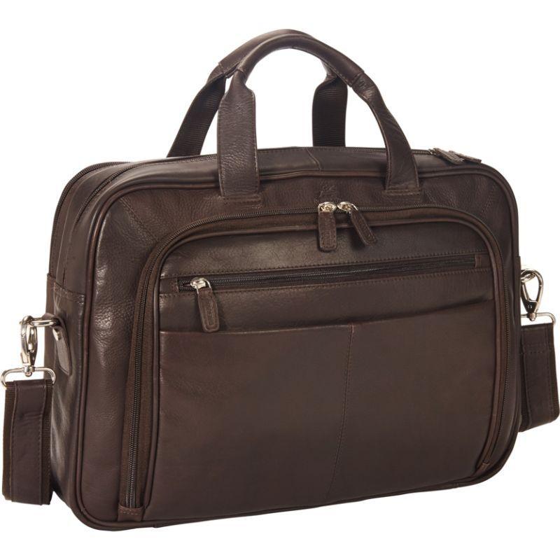 マンシニレザーグッズ メンズ スーツケース バッグ Colombian Zippered Double Compartment 15.6 Laptop/Tablet Briefcase Brown