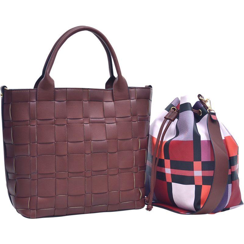 ダセイン メンズ トートバッグ バッグ Checkered/Plaid Designed Tote with Bucket Bag Inside Cognac