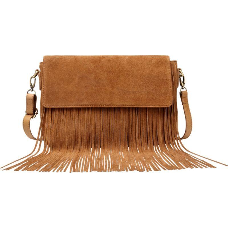 ビンセンゾレザー メンズ ボディバッグ・ウエストポーチ バッグ Allyson Suede Leather Fringe Crossbody Handbag Brown