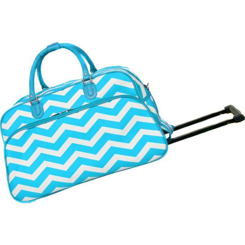 ワールドトラベラー メンズ スーツケース バッグ Chevron 21 Rolling Duffel Bag Light Blue White Chevron