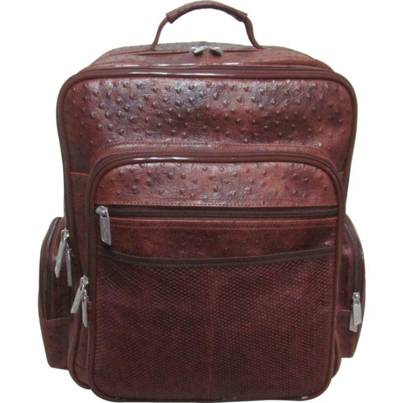 アメリ メンズ スーツケース バッグ CEO Leather Backpack Brown Ostrich Print