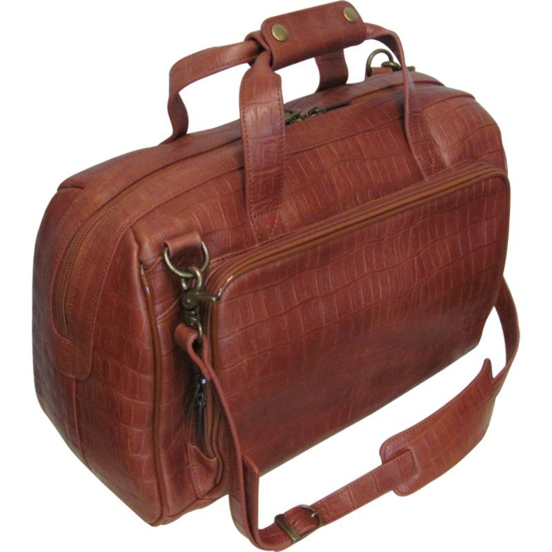 アメリ メンズ スーツケース バッグ Croco-Print 16 Leather Carry-On Weekend Duffel Brown Croco-Print