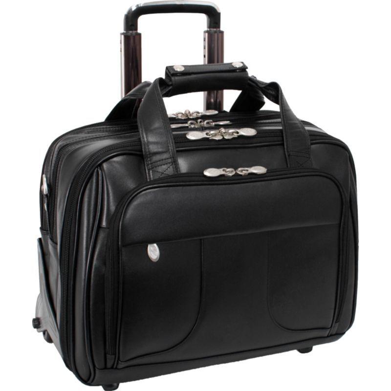 マックレイン メンズ スーツケース バッグ Chicago Leather Wheeled 15.6 Laptop Case Black