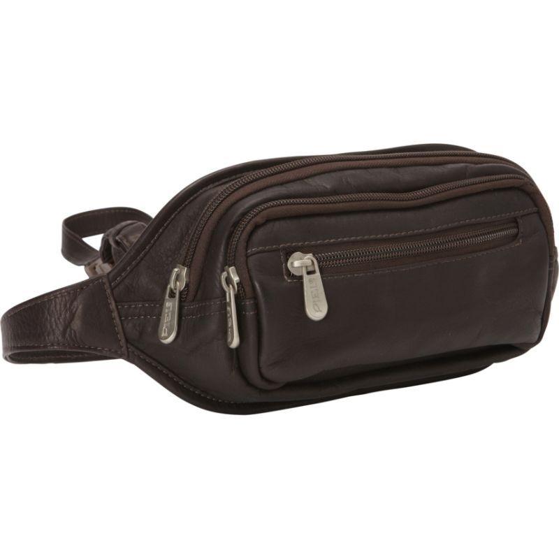 ピエール メンズ ボディバッグ・ウエストポーチ バッグ Multi-Zip Oval Waist Bag Chocolate