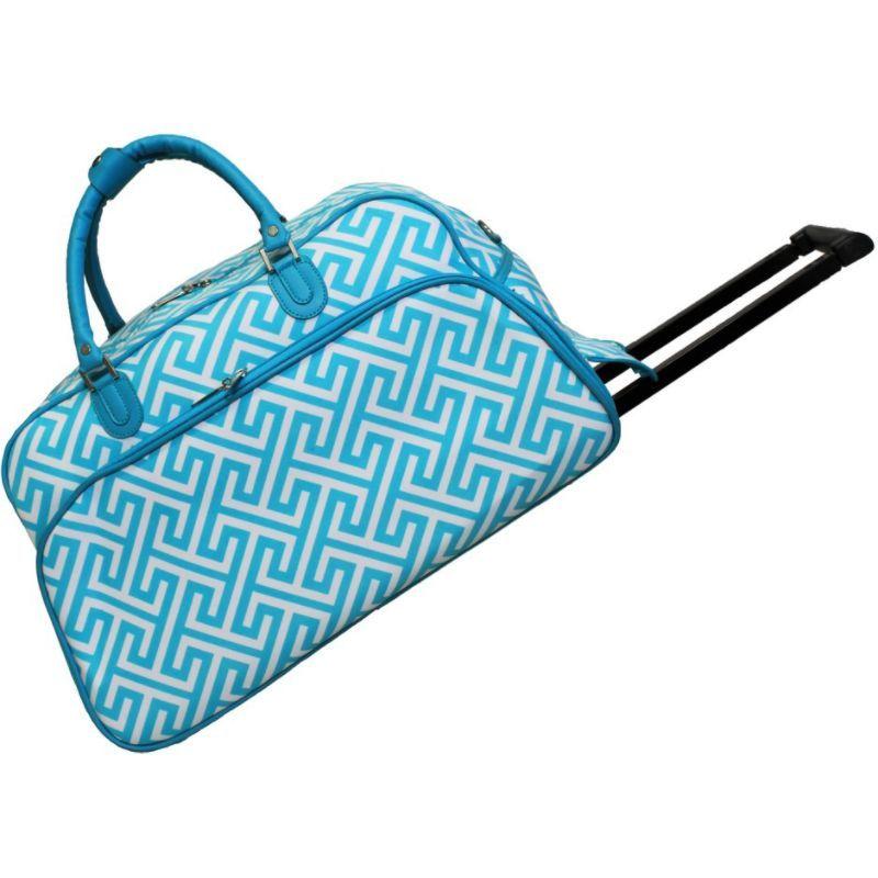 ワールドトラベラー メンズ スーツケース バッグ Greek Key 21 Rolling Duffel Bag LT Blue White Greek Key
