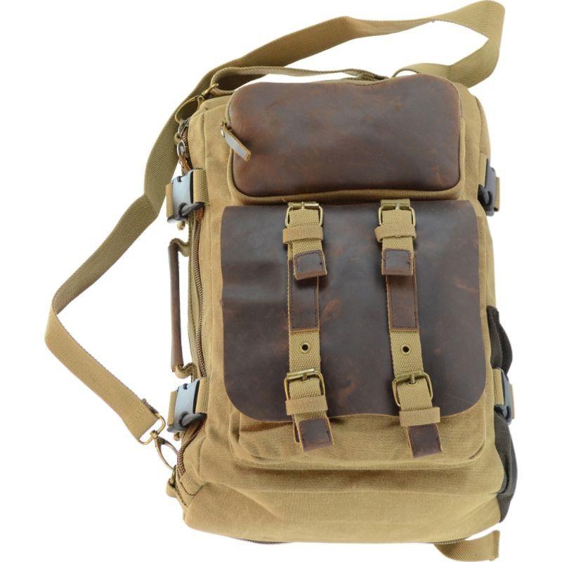 アールアンドアール メンズ スーツケース バッグ Canvas & Leather Convertible Backpack/Briefcase KHAKI