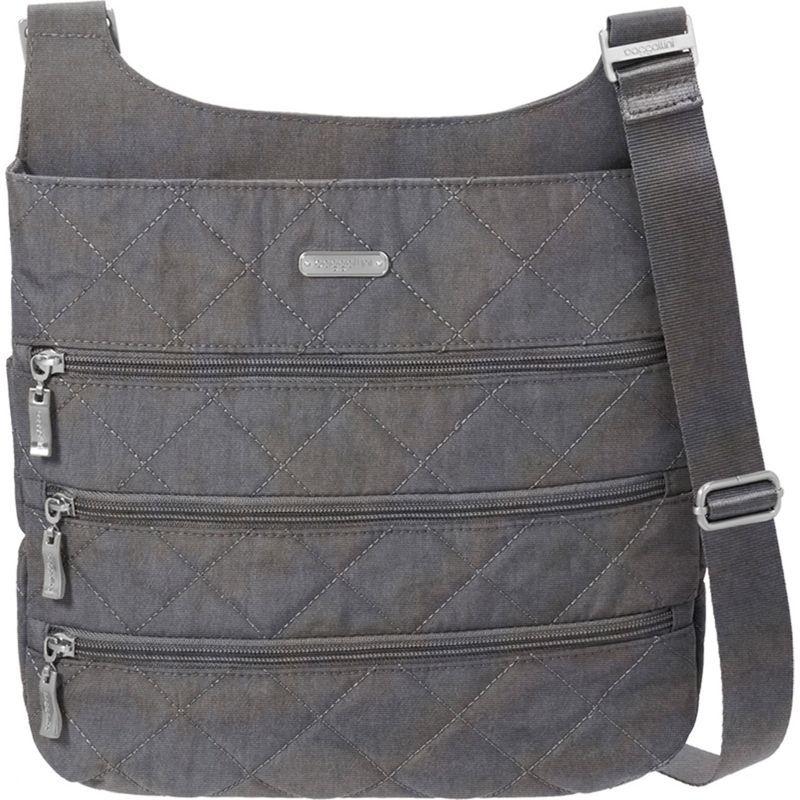 バッガリーニ メンズ ボディバッグ・ウエストポーチ バッグ Quilted Big Zipper Bagg Crossbody with RFID Pewter Quilt