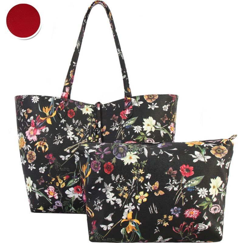 ディオフィ メンズ トートバッグ バッグ Colorful Floral Pattern Two-Tone Reversible Large Tote with Matching Crossbody 2 Piece Set Red