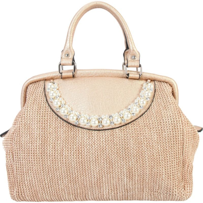 ディオフィ メンズ トートバッグ バッグ Woven Pattern Pearls and Crystals Decor Large Tote Gold