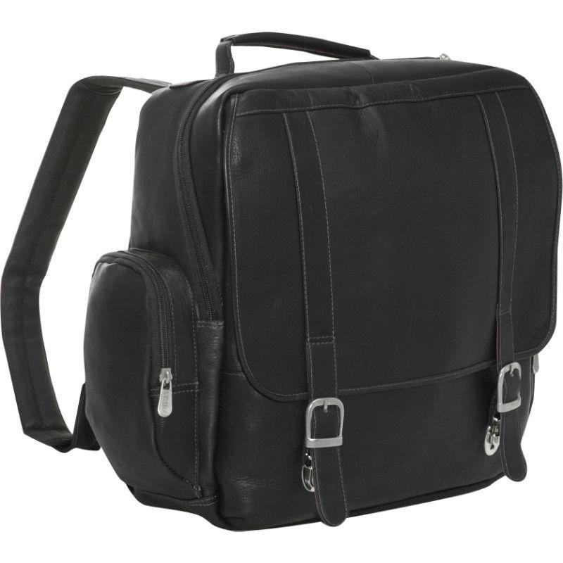 ピエール メンズ スーツケース バッグ Vertical Leather Laptop Backpack Black