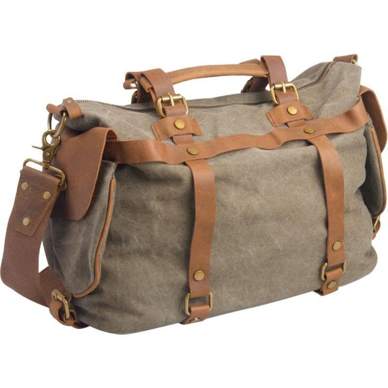 ヴァガボンドトラベラー メンズ ショルダーバッグ バッグ Classic Antique Style Cowhide Leather Cotton Canvas Messenger Bag Military Green