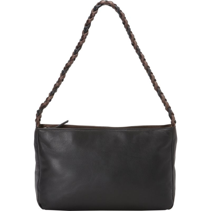 デレクアレクサンダー メンズ ショルダーバッグ バッグ Classic E/W Inset Top Zip Shoulder Bag with Braided Shoulder Strap Black/Bronze
