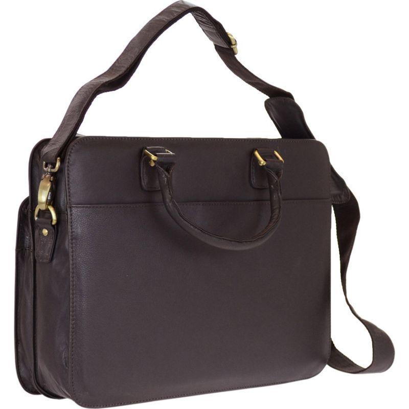 アールアンドアール メンズ スーツケース バッグ Genuine Leather Briefcase With Zip Around Pocket Brown