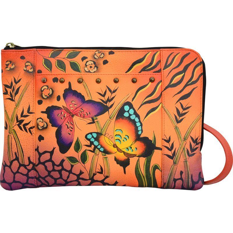 アンナバイアナシュカ メンズ ボディバッグ・ウエストポーチ バッグ Hand Painted Medium Crossbody Organizer Animal Butterfly Tangerine