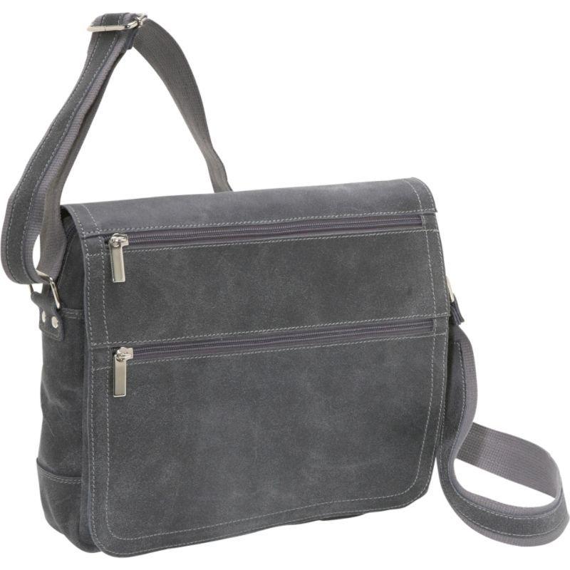 デビッドキング メンズ スーツケース バッグ Double Zip Distressed Leather Small Messenger Distressed Grey