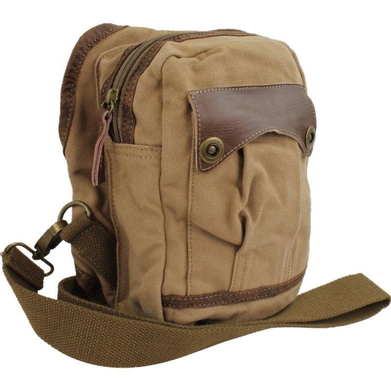 ヴァガボンドトラベラー メンズ ショルダーバッグ バッグ Small Canvas Satchel Shoulder Bag Khaki
