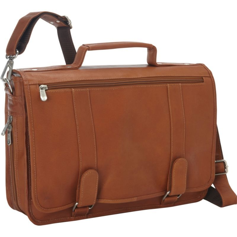 ピエール メンズ スーツケース バッグ Double Loop Leather Expandable Laptop Briefcase Saddle