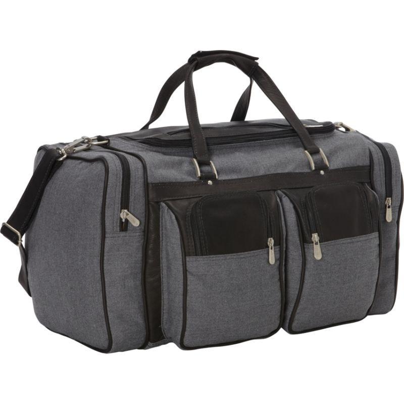 ピエール メンズ スーツケース バッグ 20in Duffel Bag with Pockets - Canvas and Leather Black