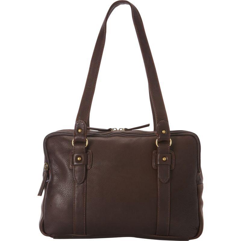 デレクアレクサンダー メンズ ショルダーバッグ バッグ EW Three Zip Book Bag Brown