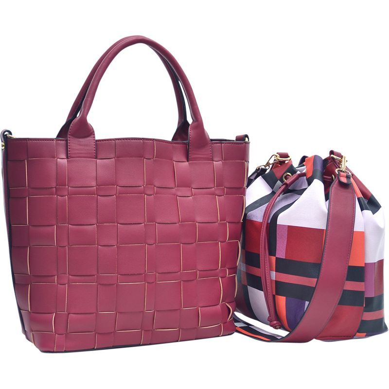 ダセイン メンズ トートバッグ バッグ Checkered/Plaid Designed Tote with Bucket Bag Inside Burgundy