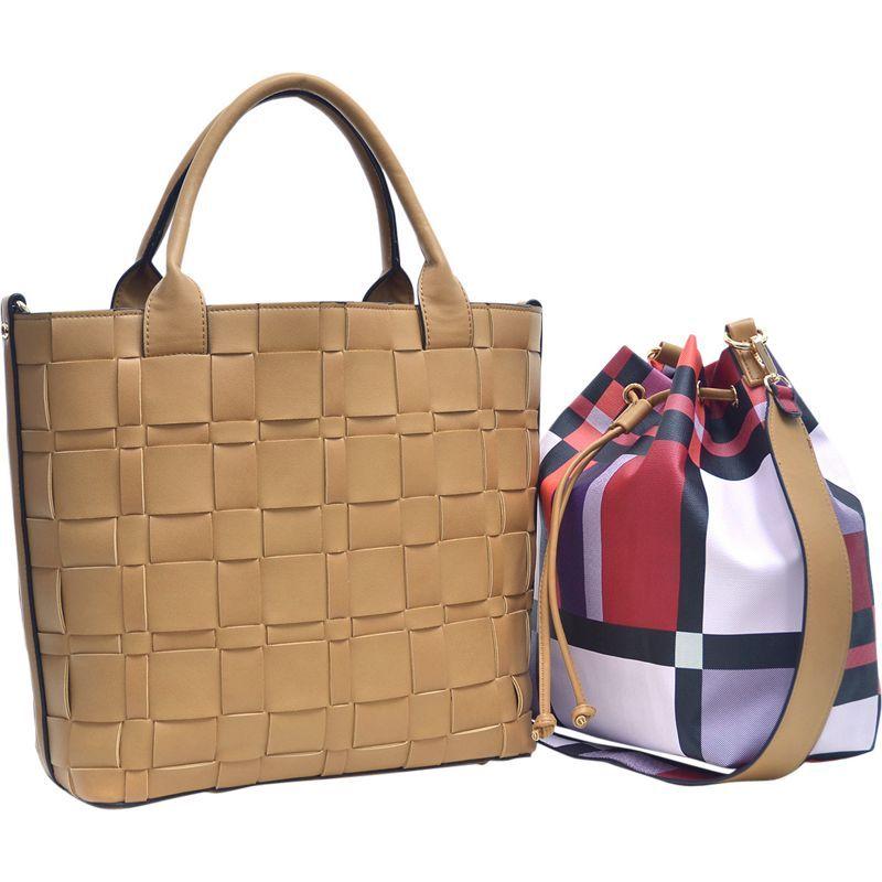 ダセイン メンズ トートバッグ バッグ Checkered/Plaid Designed Tote with Bucket Bag Inside Tan