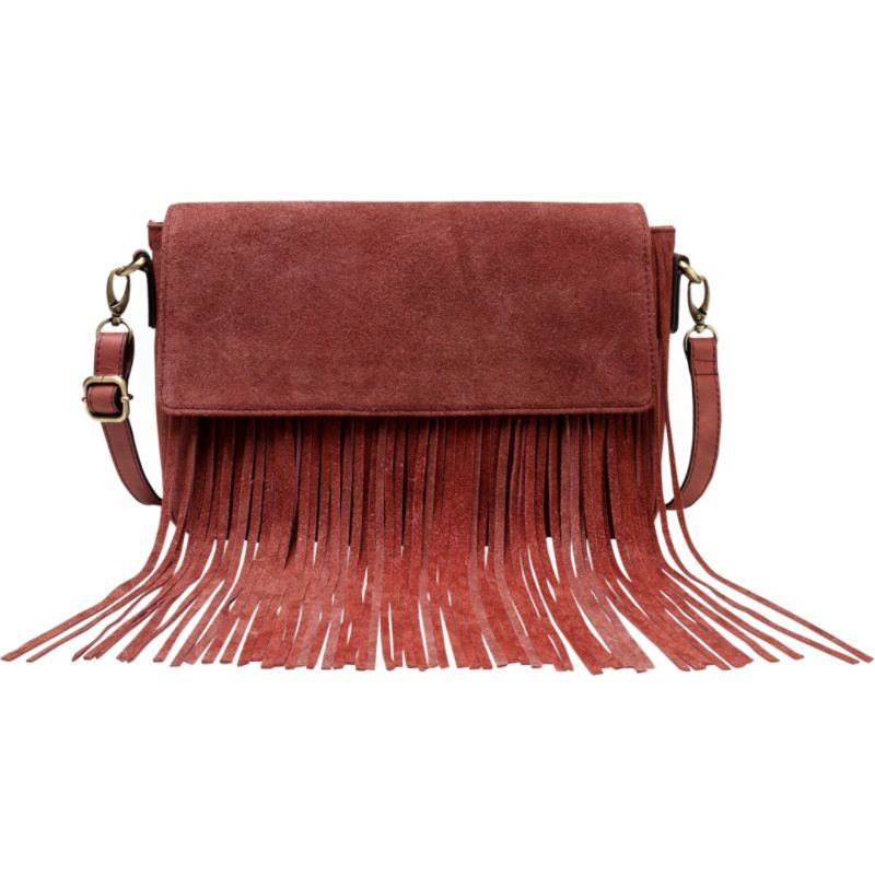 ビンセンゾレザー メンズ ボディバッグ・ウエストポーチ バッグ Allyson Suede Leather Fringe Crossbody Handbag Chestnut