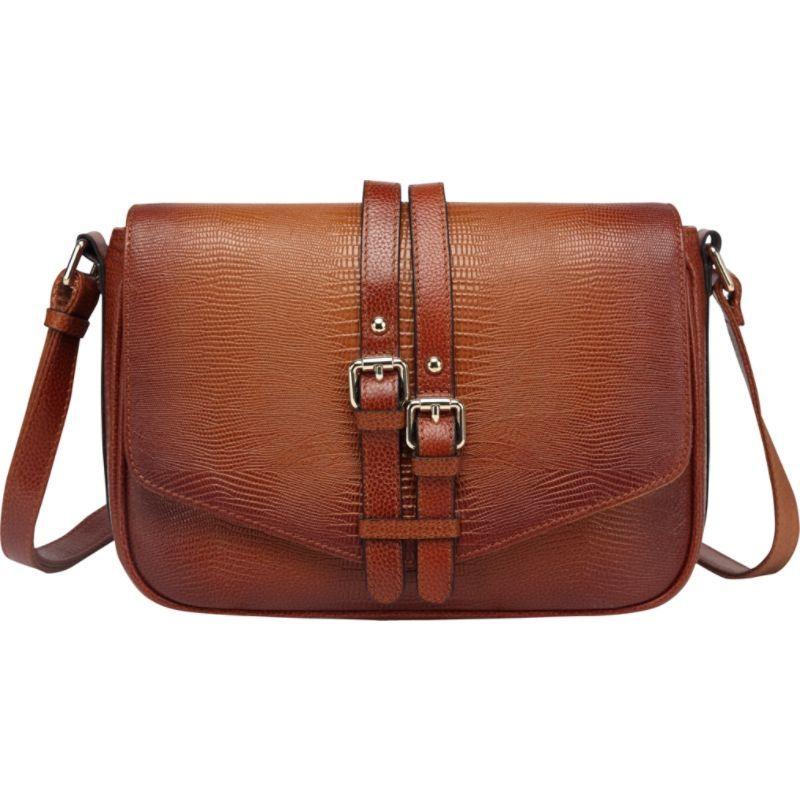 ビンセンゾレザー メンズ ボディバッグ・ウエストポーチ バッグ Raine Lizard Print Leather Crossbody Bag Brown