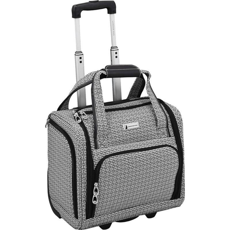 ロンドンフォグ メンズ スーツケース バッグ Softside 15 Under The Seat Bag Black White Square Jacquard
