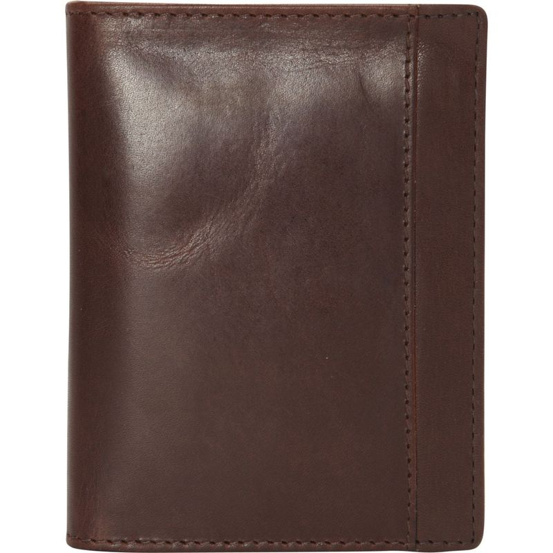 マンシニレザーグッズ メンズ 財布 アクセサリー Casablanca Collection: Men's RFID Unique Vertical Wing Wallet Brown