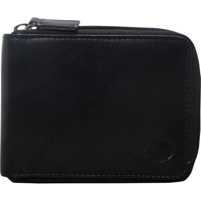 マンシニレザーグッズ メンズ 財布 アクセサリー Mens RFID Secure Zippered Wallet With Removable Passcase Black