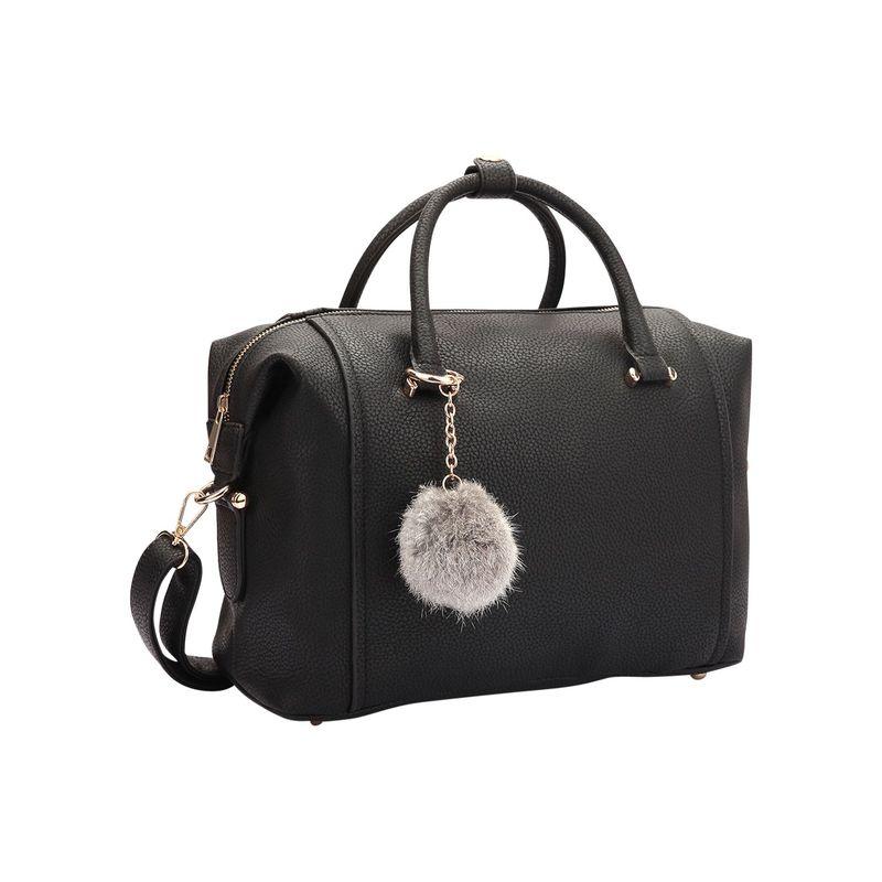 ダセイン メンズ ハンドバッグ バッグ Faux Leather Satchel with PomPom Black
