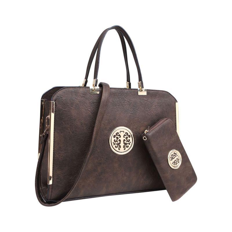 ダセイン メンズ ハンドバッグ バッグ Briefcase Satchel with Matching Wallet Bronze
