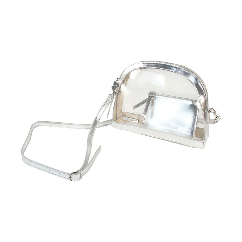カプリデザイン メンズ ボディバッグ・ウエストポーチ バッグ Half Moon Crossbody Silver Metalic