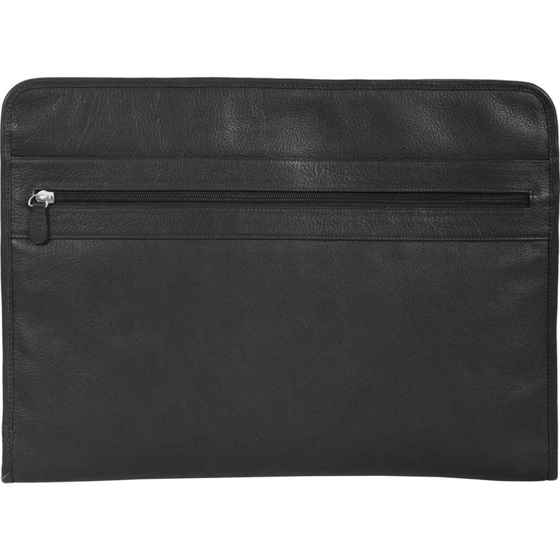 スカーリー メンズ スーツケース バッグ Calf Leather 3 Way Zip Envelope File Business Case Black