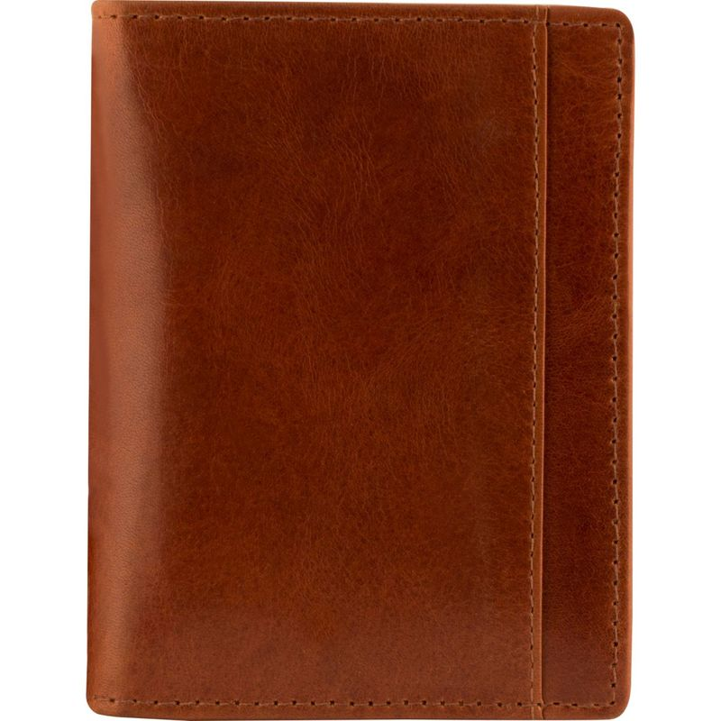 マンシニレザーグッズ メンズ 財布 アクセサリー Casablanca Collection: Men's RFID Unique Vertical Wing Wallet Cognac