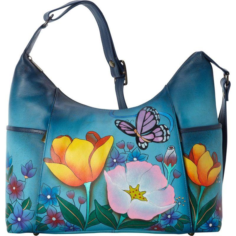 アンナバイアナシュカ メンズ ハンドバッグ バッグ Hand Painted Large Shoulder Hobo Floral Garden Denim