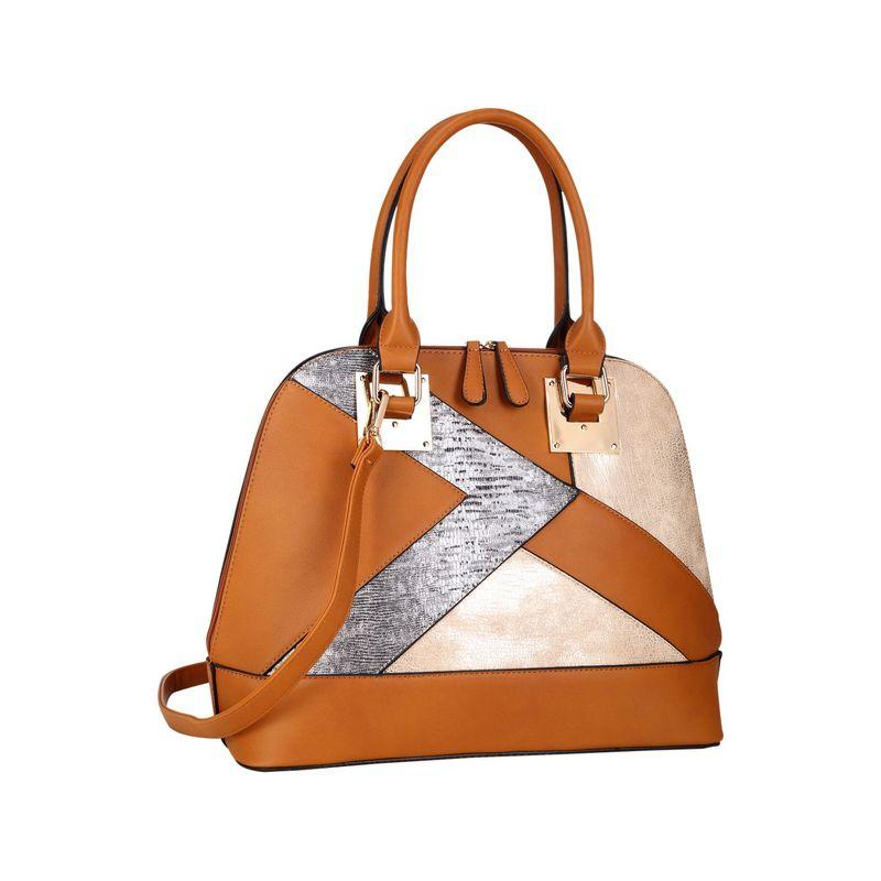ダセイン メンズ ハンドバッグ バッグ Round Leather Satchel with Semi Metallic Patch Design Brown