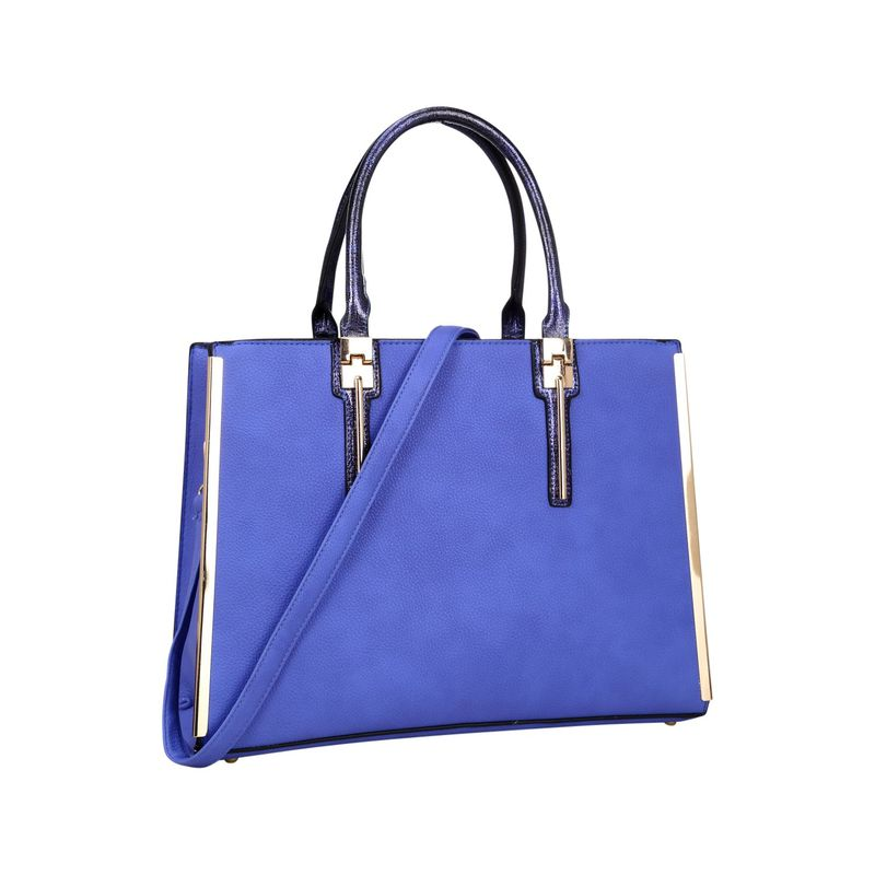 ダセイン メンズ ハンドバッグ バッグ Faux Leather Satchel with Gold Plated Trim and Snake Skin Rolled Handle Royal Blue