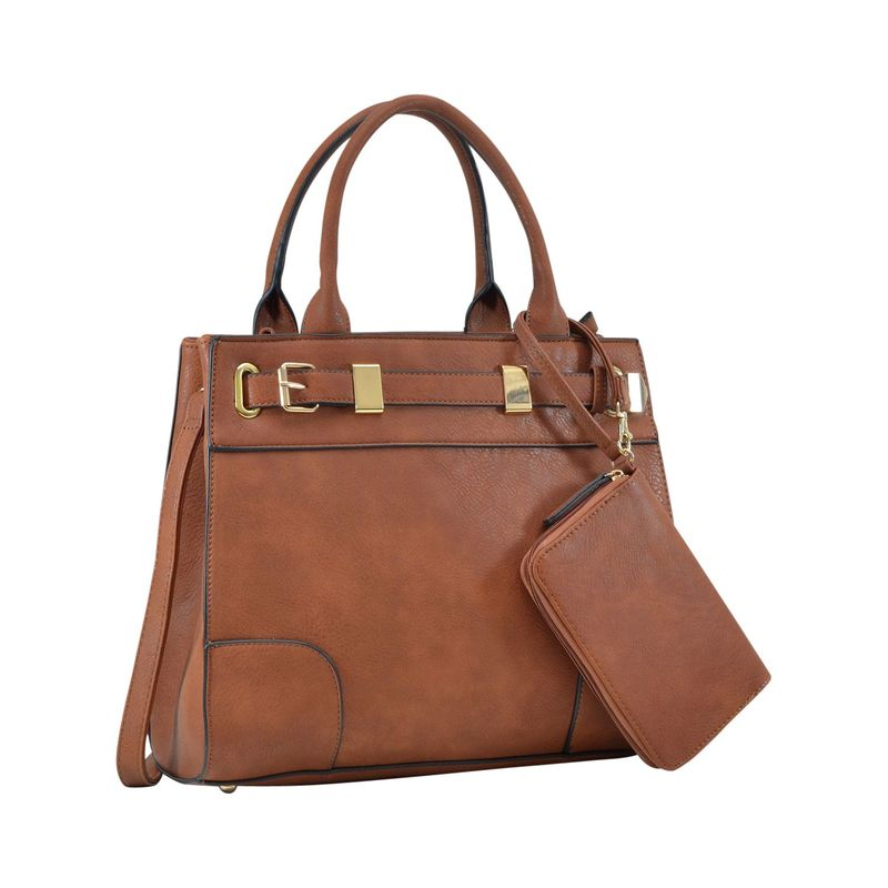 ダセイン メンズ ハンドバッグ バッグ Front Belted Gold Plated Hinge Medium Satchel with Detachable Matching Wristlet Brown