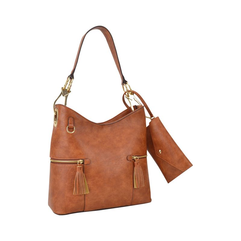 ダセイン メンズ ハンドバッグ バッグ Classic Hobo Bag with Matching Wristlet Brown