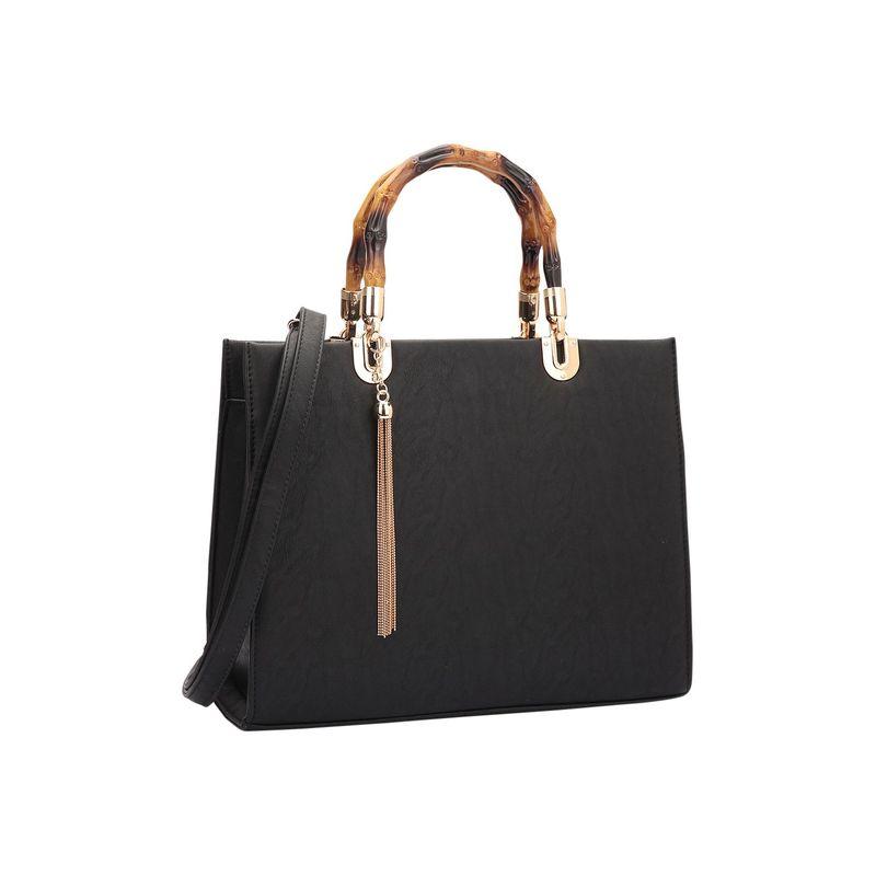 ダセイン メンズ ハンドバッグ バッグ Bamboo Handle Smooth Leather Medium Satchel Black