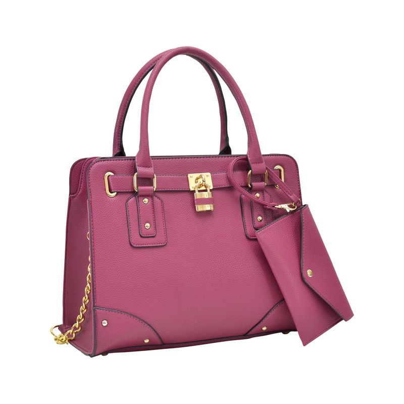 ダセイン メンズ ハンドバッグ バッグ Padlock Deco Belted Satchel with Matching Wristlet Burgundy