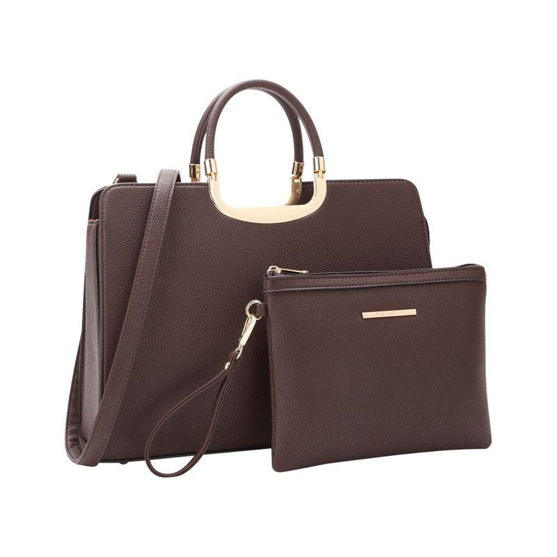 ダセイン メンズ ハンドバッグ バッグ Fashion Briefcase Satchel with Matching Accessory Pouch Coffee