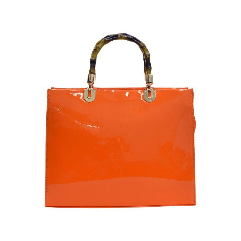 ダセイン メンズ ハンドバッグ バッグ Wooden Handle Patent Leather Satchel Orange