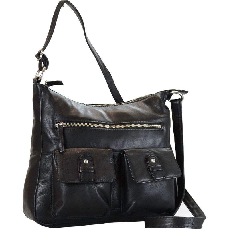 アールアンドアール メンズ ハンドバッグ バッグ Leather 2 Front Pockets Hobo Black