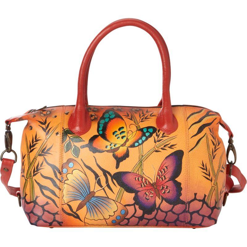 アンナバイアナシュカ メンズ ハンドバッグ バッグ Hand Painted Medium Satchel Animal Butterfly Tan