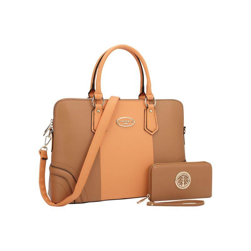 ダセイン メンズ ハンドバッグ バッグ Slim Briefcase with Matching Wallet Orange/Brown